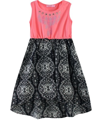 Funky Babe Junior Girls Feather Embellished Tribal Print Dress  - Coral Pink/Black