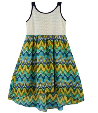 Funky Babe Junior Girls Chiffon/Lace Geo Dress  -  Navy/Green