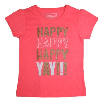 Young Dimensions UK Girls Happy, Yay Glitter Print Tee - Coral