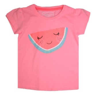 Young Dimensions UK Girls Watermelon Glitter Print Tee - Pink