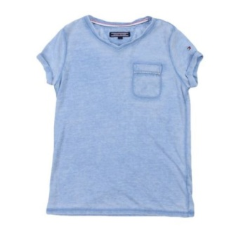 Tommy Hilfiger Girls Worn Out  V-Neck Tee  - Blue