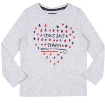 Tommy Hilfiger Girls Stars Love Glitter Print L/S   -  Grey