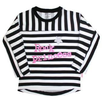 Silly Souls USA Girls Rock Princess Striped  L/S - Black/White