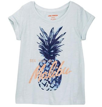 Joe Fresh USA Girls Malibu Print Tee - Blue