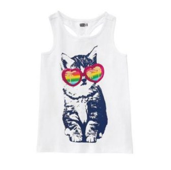 Crazy 8 by Gymboree Girls Cat with Sunnies Sequin Print Tank - White