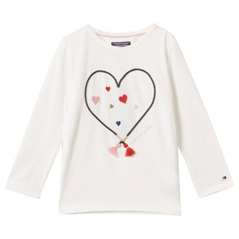 Tommy Hilfiger Girls Appliqued Heart L/S Tee - White