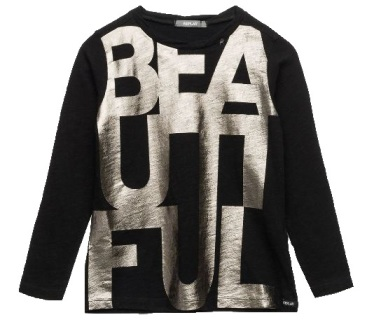 Replay & Sons Designer Girls Beautiful Foil Print Long Line L/S - Black