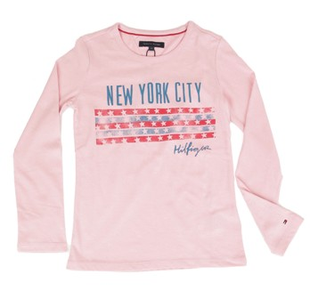 Tommy Hilfiger Girls New York City Flag  L/S Tee - Pink