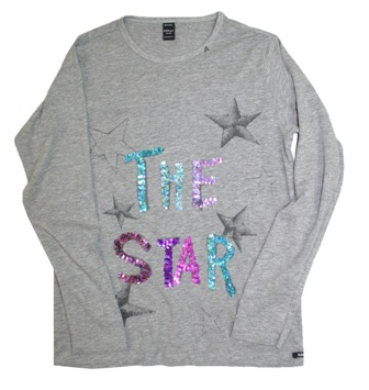 Replay & Sons Designer Girls The Star  Sequin L/S - Grey