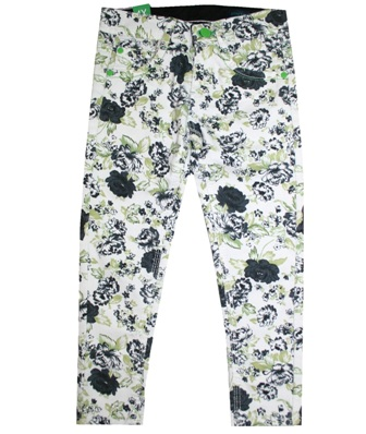 Benetton Junior/Youth Girls Stretch Black Floral Jegging