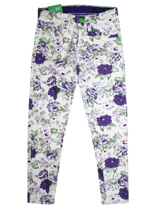 Benetton Junior/Youth Girls Stretch Purple Floral Jegging