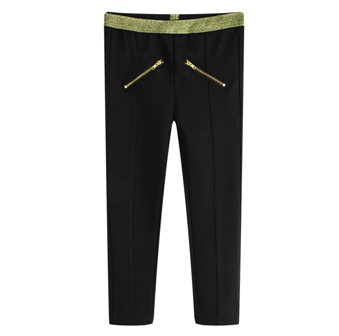 Funky Babe Junior Girls Gold Trim Ponte Zip Leggings   -  Black