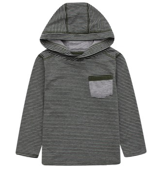 Urban Crusade Junior Boys One Pocket Striped Hooded L/S - Grey/Khaki