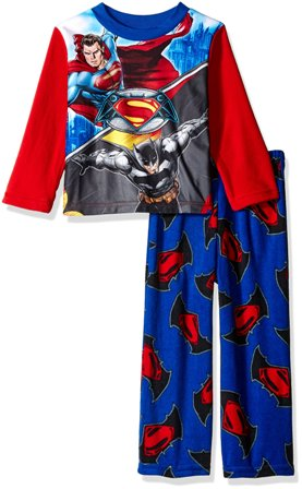 Marvel Batman V's Superman Junior/Youth Boys Fleece Pyjamas - Blue/Red