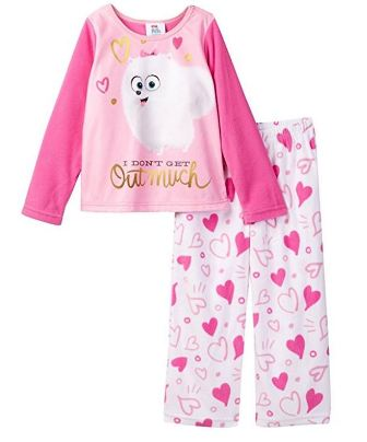 Illumination Official Licensed  Life of Pets Junior/Youth Girls Fleece Pyjamas - Pink/White