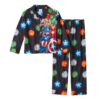 Marvel Store Avengers Junior/Youth Boys Soft Stretch Flannel Pajamas - Black