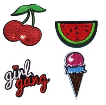 Girls 4 Pcs  Girly Gang with feature Sequin Iron On Patch Set