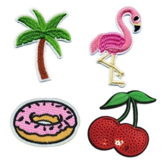 Girls 4 Pcs Tropics with feature Sequin Iron On Patch Set