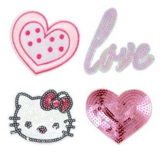 Girls 4 Pcs  Hello Kitty with 3 x feature Sequins Iron On Patch Set