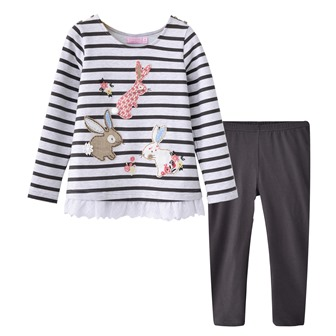 BQT Infant/Junior Girls Appliqued  Bunnies 2-pc Legging Set - Charcoal/White