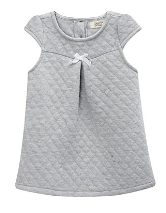 BQT Infant/Junior Girls Diamond Quilted Tunic Dress - Grey