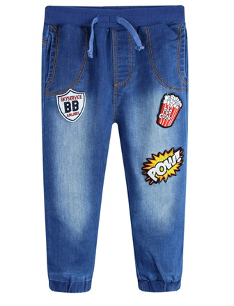 BQT Infant/Junior Boys Patch Trend Jersey Denim Jeans