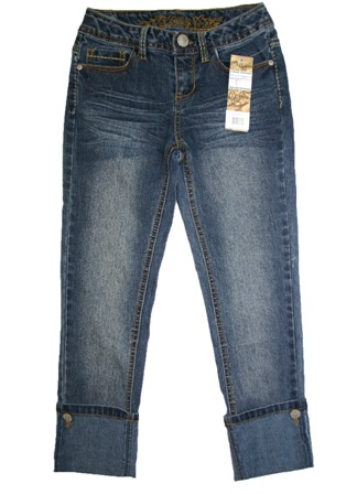 Designer Squeeze Denim for JC Penny USA Girls Roll Up Cuff Ankle Crop Denim Jeans