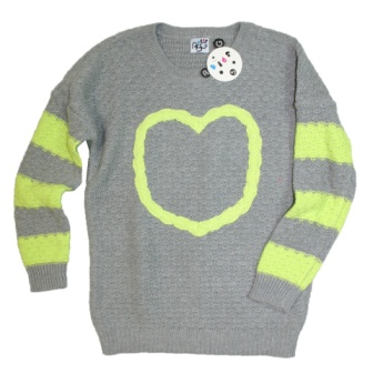 Rebecca Scott Girls Cotton Braid Heart Batwing Jumper -  Grey/Green
