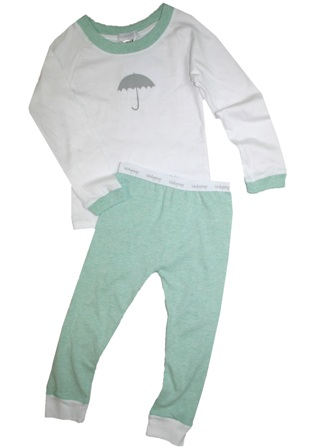 Lulu & George Umbrella Pyjamas  - White/Mint