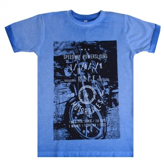 Thomas Trent Europe Boys Tie Dye Motorcycle Longline Tee - Rivera Blue