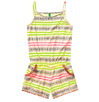 Benetton Junior/Youth Girls Tassel Trim Playsuit  -  Lime Multi