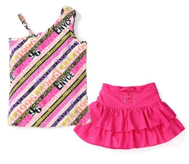 ENYCE New York  Junior Girls 2-pc One Shoulder Set - Pink