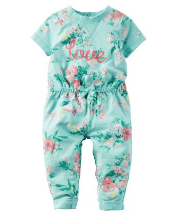 Carters Infant Girls Floral Jumpsuit - Mint