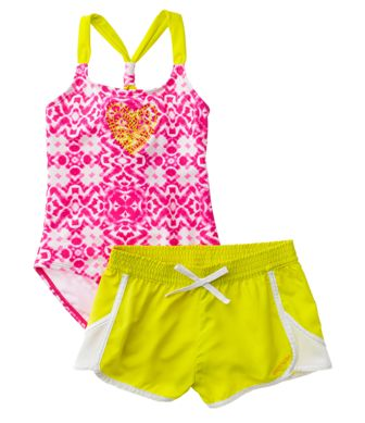 Limited Too USA for Girls Aztec Swimsuit/Shorts Set - Pink/Lime