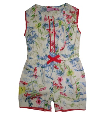 Juniors Designer Girls Pompom Trim Floral Playsuit