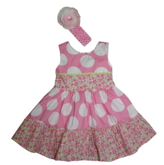 Little Princess Girls Polka Dot Floral Dress & Flower Headband Set - Pink/White