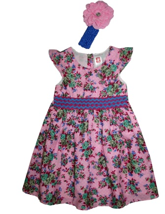 Here & There Germany Girls Ric Rac Floral Dress & Flower Headband Set - Pink