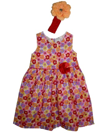 Here & There Germany Girls Floral Dress & Flower Headband Set - Orange/Multi