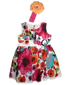 Early Days Girls Floral Dress & Flower Headband Set - Multi