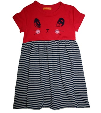 Stacatto Netherlands Girls Cat Print Dress - Red