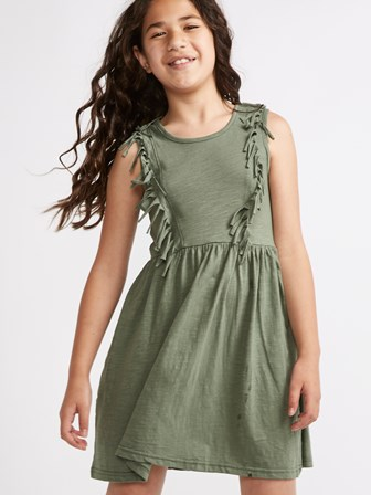 Sugar Squad UK Girls Tassel Trim Dress - Khaki