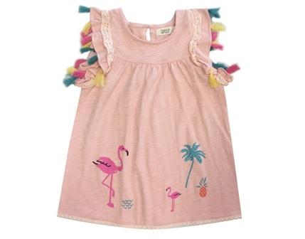 BQT Girls Flamingo Tassel Trim Dress - Coral Pink