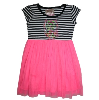Beautees USA Girls Owl Stripe Tutu Dress