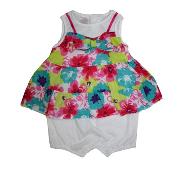 Youngland USA Infant Girls 2 in 1 Floral Dress Romper - Bright/Multi