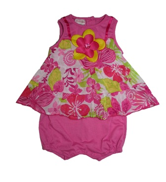 Youngland USA Infant Girls 2 in 1 Floral Dress Romper - Pink