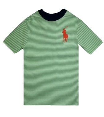 Polo Ralph Lauren Junior Boys Stripe Big Pony Tee S/S -Green/White/Navy