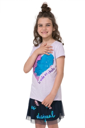 Desigual Girls Chivite Reversible Sequin Heart S/S Tee   - Lilac