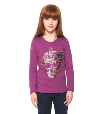 Desigual Girls Atlanta Reversible Sequin Crossbone L/S   - Aubergine