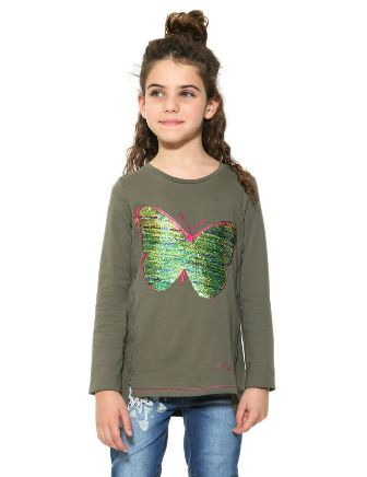 Desigual Girls Reversible Sequin Honolulu Butterfly  L/S   - Khaki
