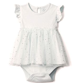 Feral Princess Baby Girls Sparkle Tutu Bodysuit - White